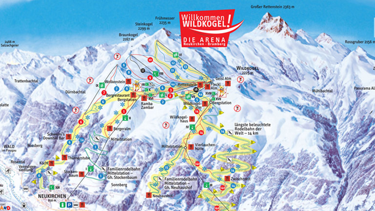 Wildkogel Arena ski map